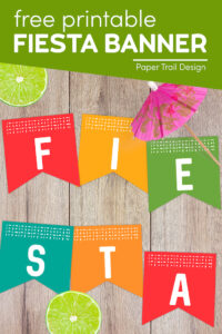 Fiesta banner flags with lime and drink umbrella with text overlay- free printable fiesta banner