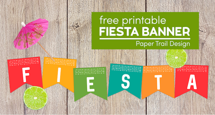 Colorful fiest banner letters with limes and drink umbrella with text overlay-