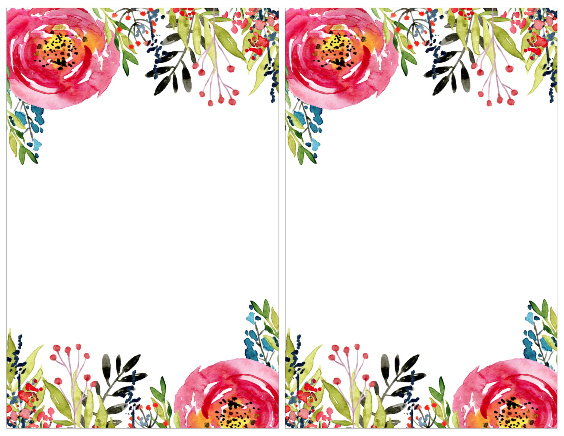 floral invitation template printable paper trail design invitation templates 2 per page