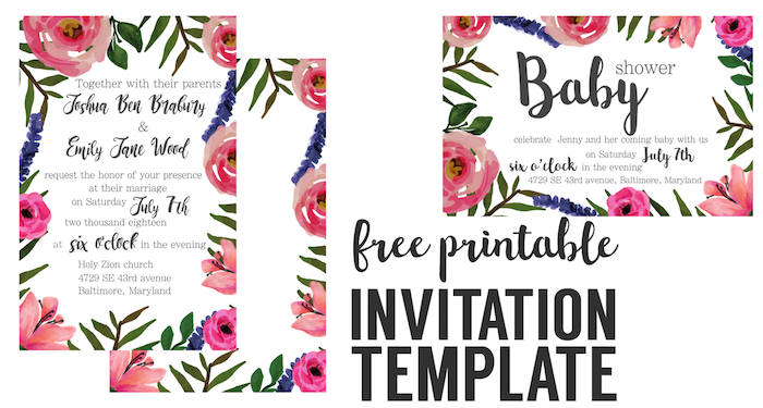 floral invitation free printable invitation templates paper trail design. Black Bedroom Furniture Sets. Home Design Ideas