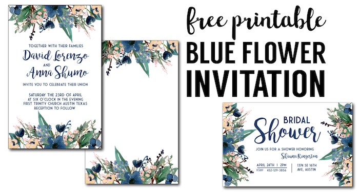 blue printable invitation templates these free invitation templates are perfect for a wedding bridal