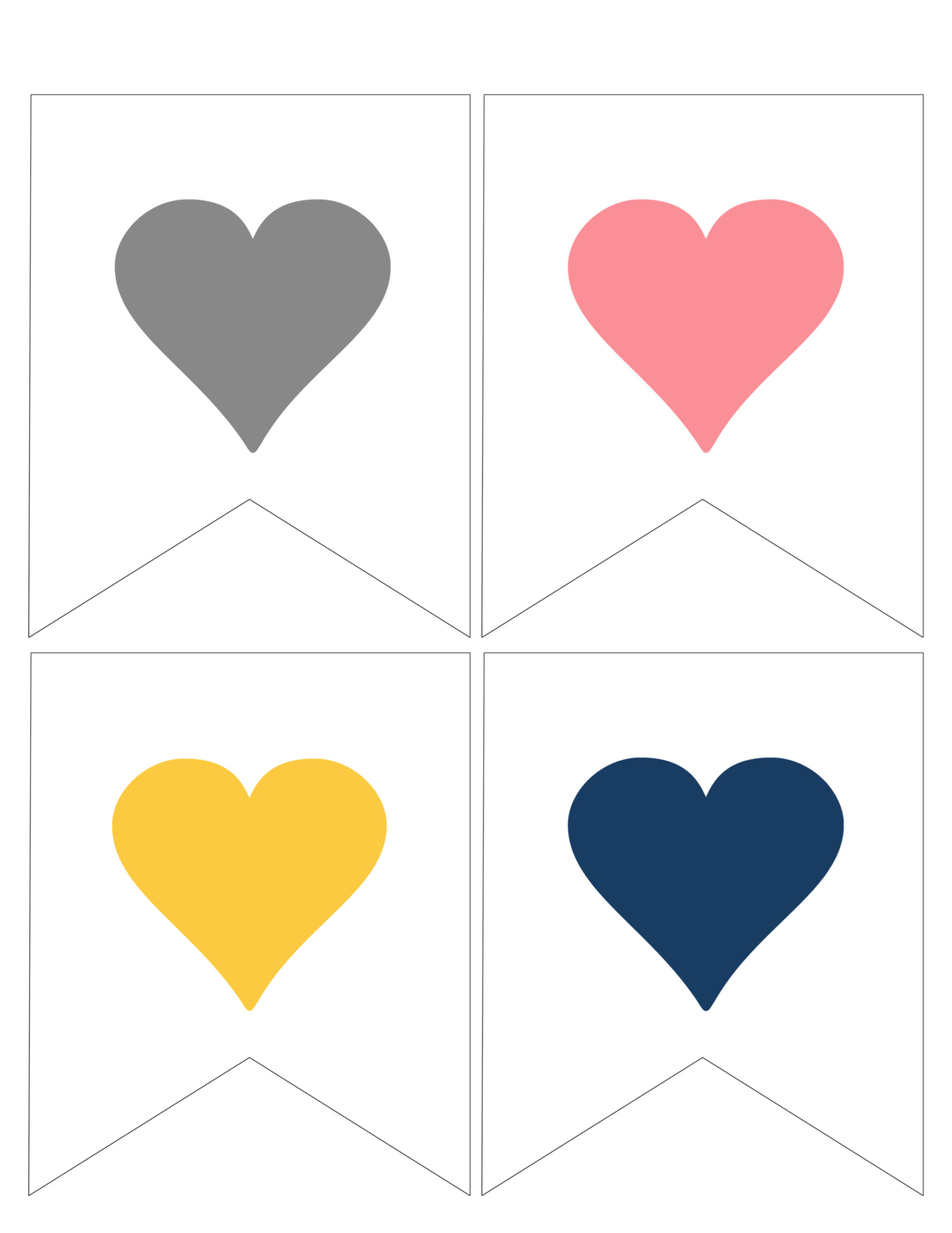 Just Married Banner Page 3 Alternate Heart Colors