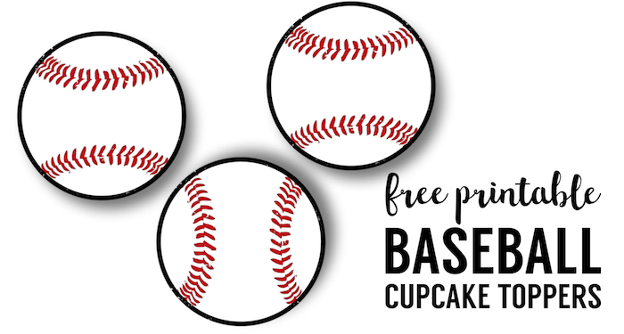 Baseball Cupcake Toppers Free Printable. Baseball or softball cupcake decorations for a baseball or softball birthday party or team party.