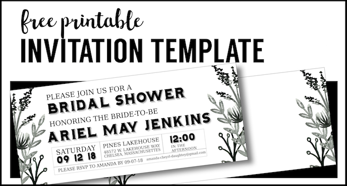black white flowers invitations templates free printable paper