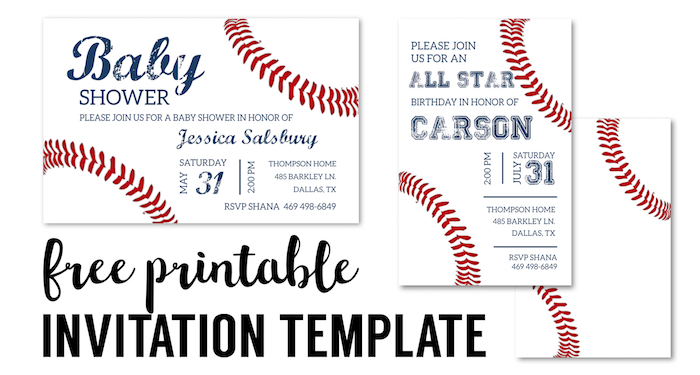 Baseball Party Invitations Free Printable Invitation Template For A DIY Birthday