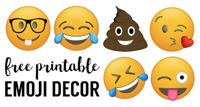 Emoji Faces Printable {Free Emoji Printables}. Emoji party decorations for a birthday party, baby shower, or for teenage bedroom decorations. Make an emoji banner.