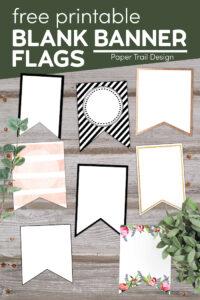 Various free printable blank banner pennants with text overlay- free printable blank banner flags
