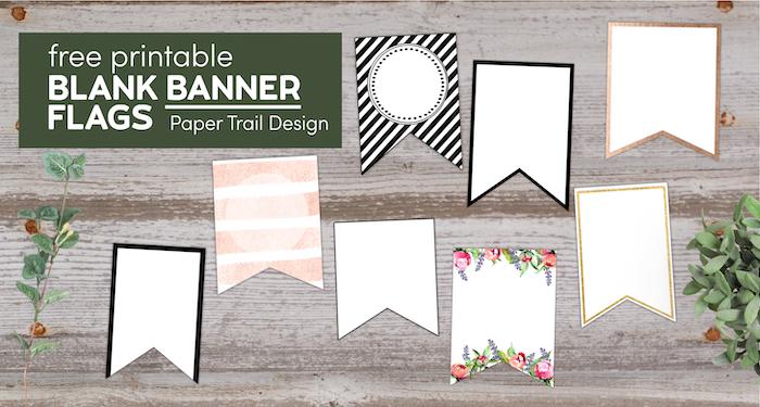Various free printbale blank banner pennants with text overlay- free printable blank banner flags