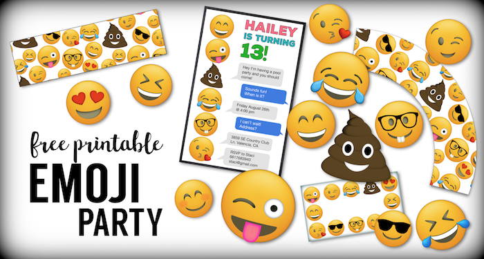 Emoji Free Printables {Emoji Birthday Party Supplies}. Emoji free printables. Emoji birthday printables, emoji party stuff, free printable emoji faces.