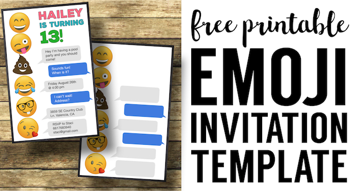 Emoji Birthday Invitations Free Printable Template Paper Trail Design