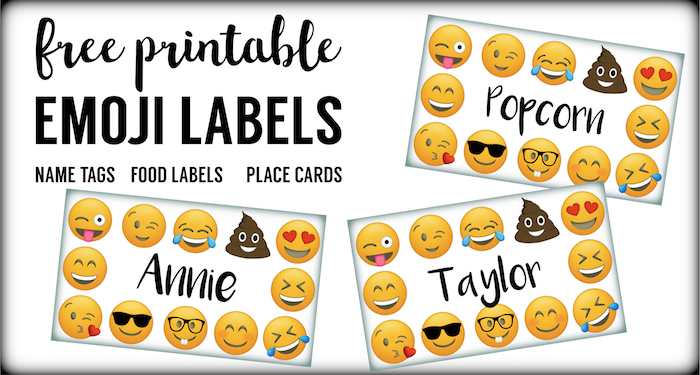 Emoji Labels Place Cards Food Birthday Party Free Printable