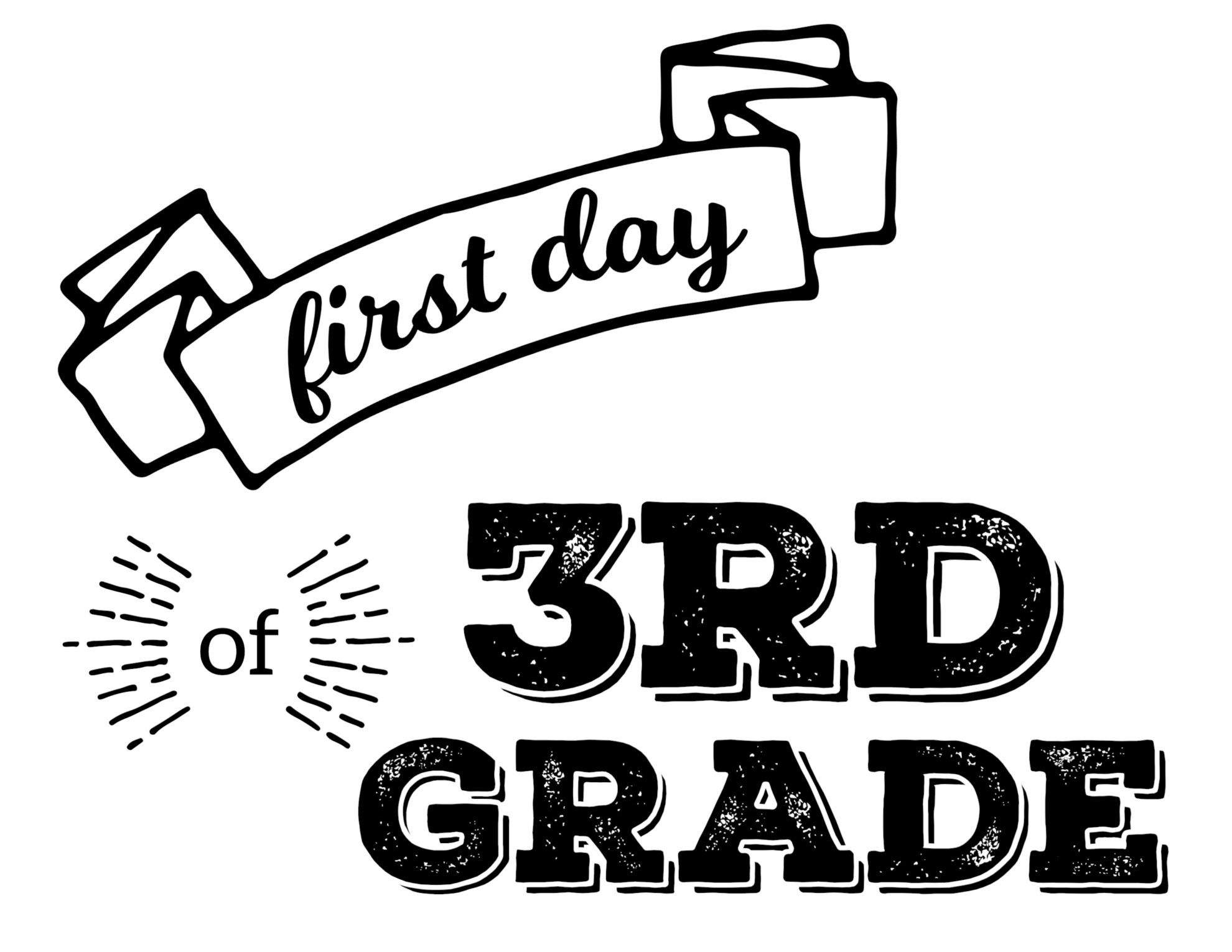 This is an image of Adaptable First Day of 3rd Grade Printable