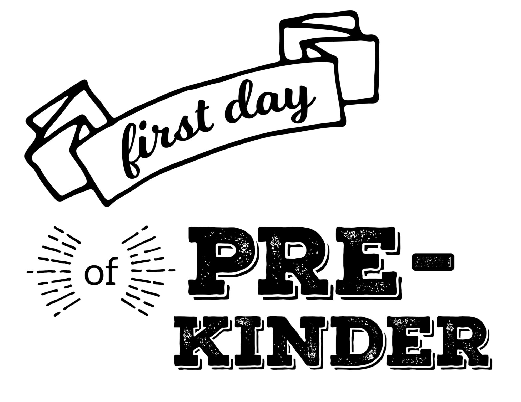 image about First Day of Preschool Free Printable titled No cost Printable To start with Working day of Higher education Signs or symptoms - Paper Path Style and design