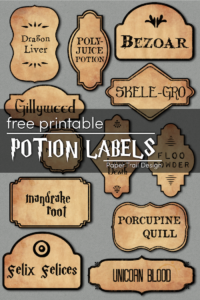Harry Potter potion labels on grey background with text overlay- free printable potion labels