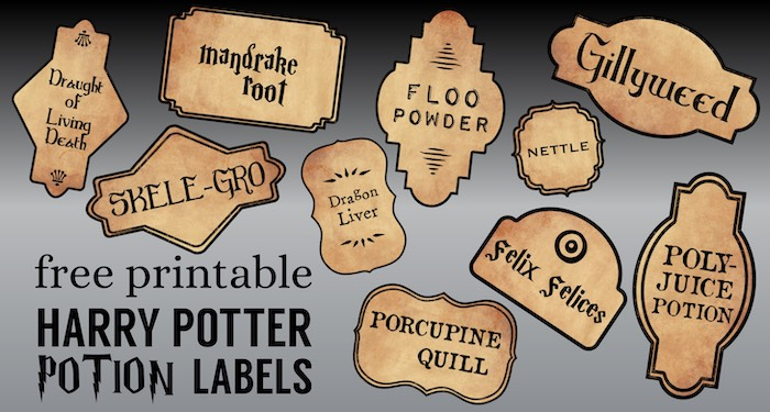Harry Potter themed potion bottle labels on a black and grey background with text overlay- free printable Harry Potter Potion Labels