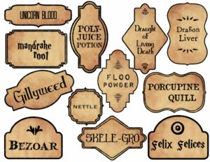 Harry Potter themed potion labels unicorn blood, mandrake root, gillyweed, bezoar, polyjuice potion, skele-grow, floo powder and more