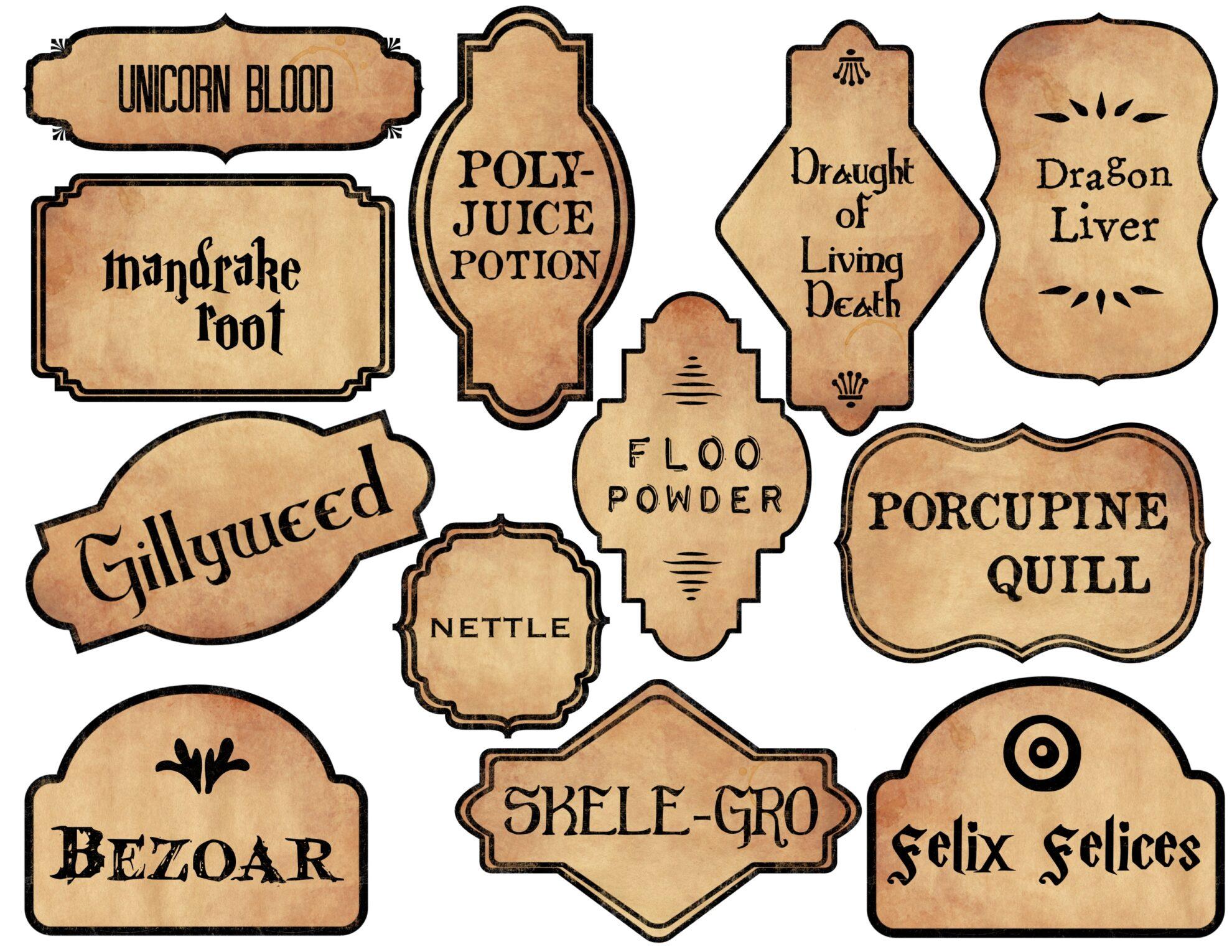 Harry Potter Potion Labels Printable Paper Trail Design