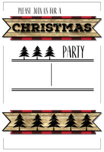 Christmas Party Invitation Templates Free Printable. Easy to customize Christmas party lumberjack invitation. Buffalo plaid rustic Christmas invitation.