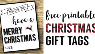 Christmas Labels Printable {Free Christmas Gift Tags Printable}. Merry Christmas gift tags with a buffalo check plaid flair for your holiday gift wrap.