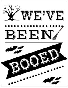 You've Been Booed Free Printable Signs. Free booed printables including a we've been booed printable to spread some fun Halloween cheer. #papertraildesign