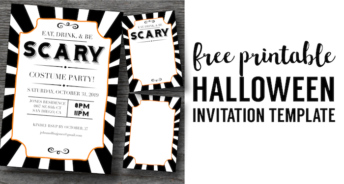 This is an image of Free Printable Halloween Invitations for template
