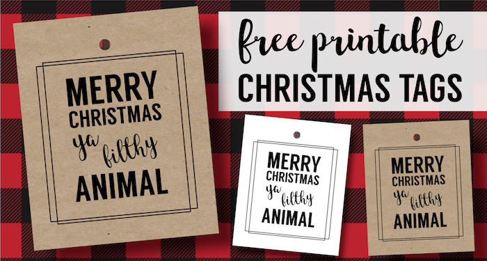 Merry Christmas Ya Filthy Animal Card Free Printable. Home Alone inspired Christmas Card gift tag printable for fun easy Christmas gift wrap.