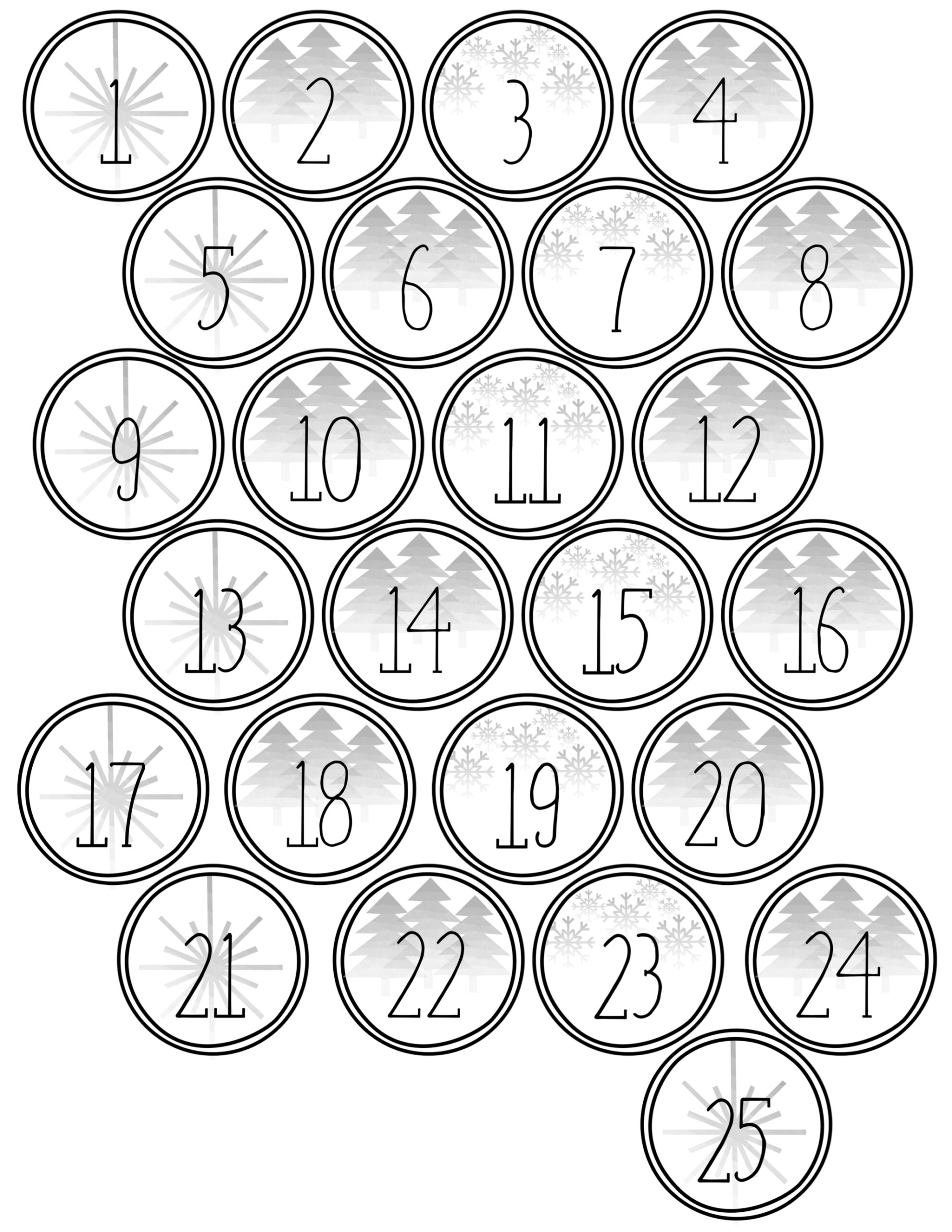 image regarding Advent Calendar Numbers Printable named Xmas Arrival Calendar Printable Quantities - Paper Path Structure