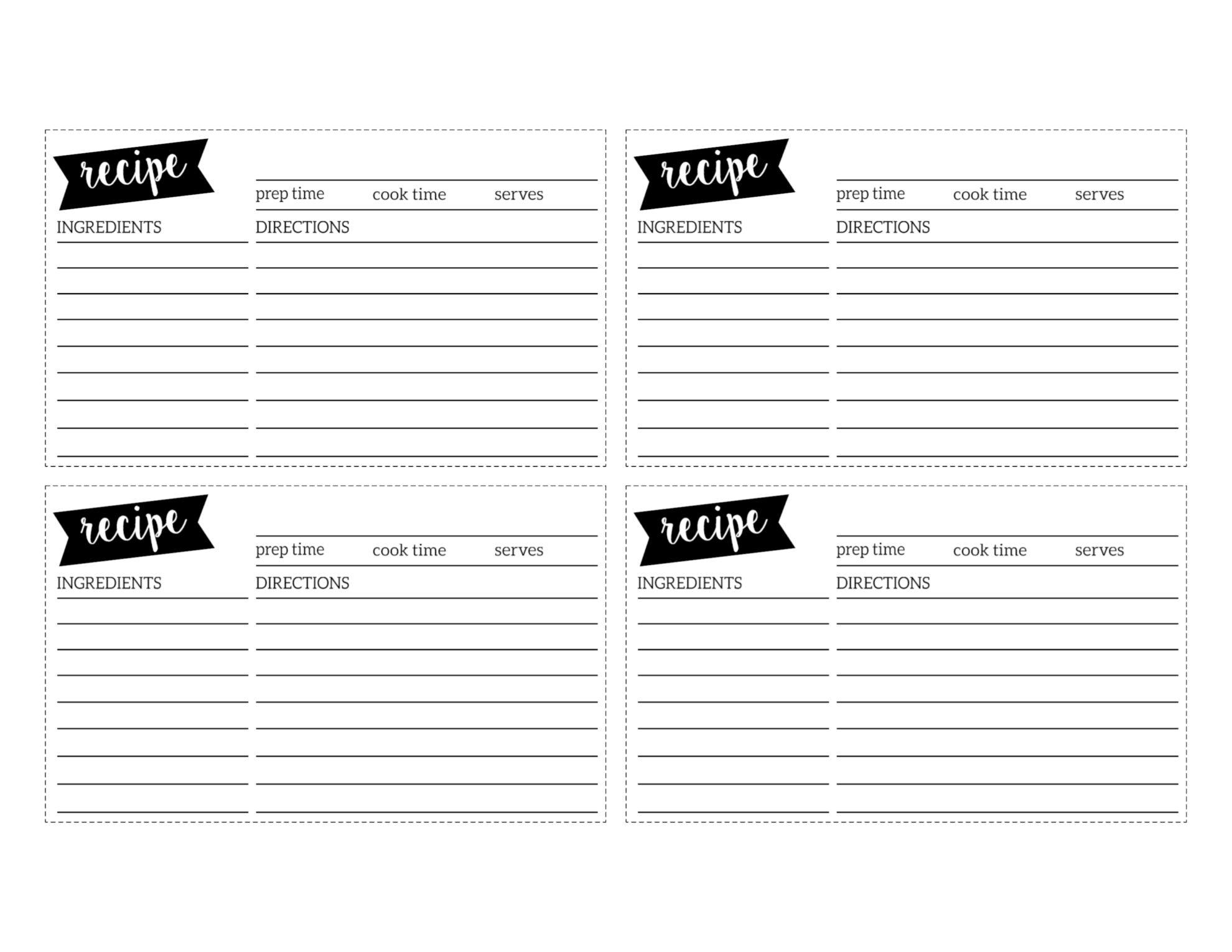 Free Recipe Card Template Printable Paper Trail Design