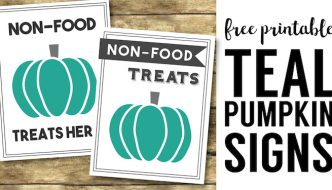 Teal Pumpkin Project Printable Sign. Non-food treats here sign. Display this sign to show you have non-candy trick or treat options for food allergies.