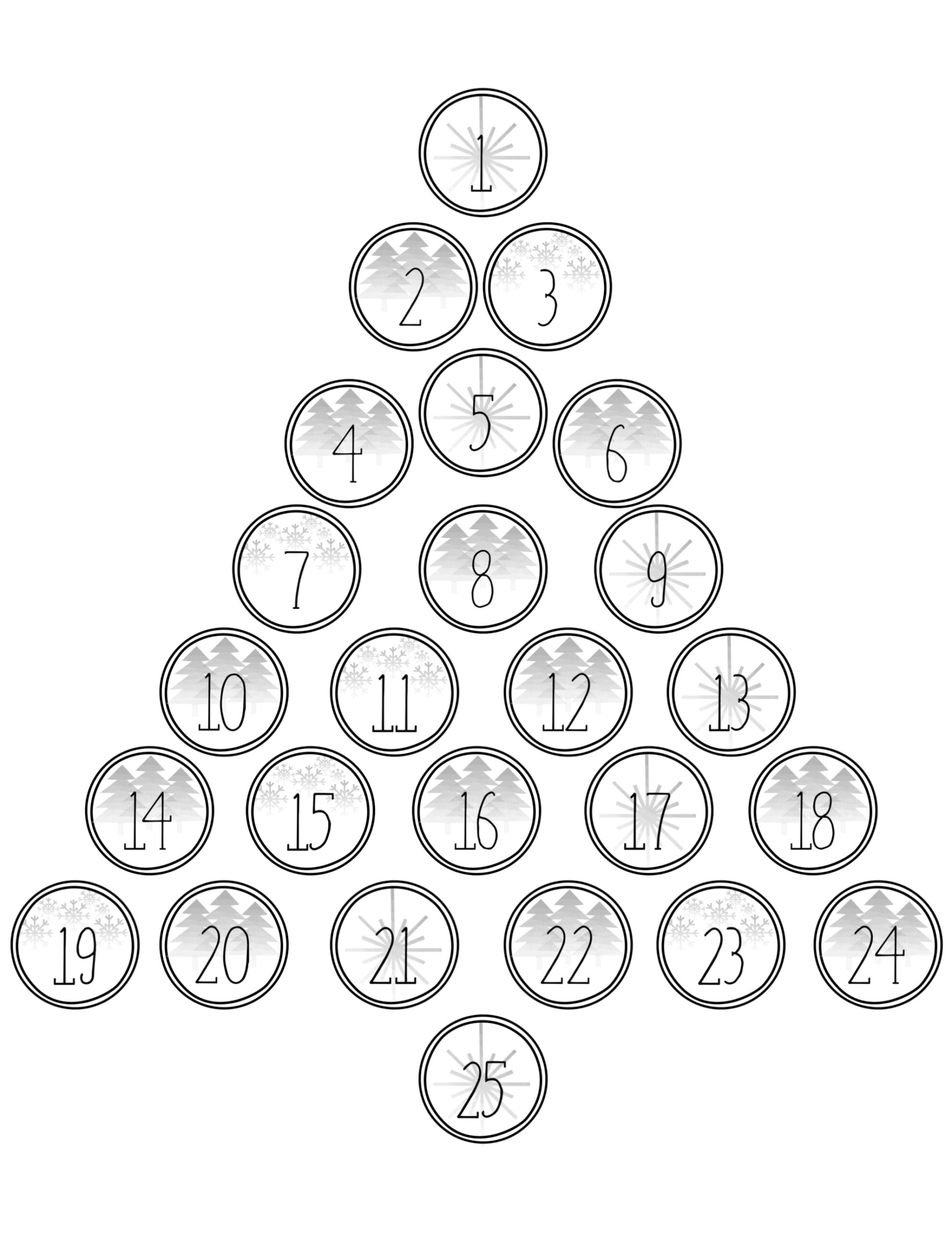 Christmas Advent Calendar Printable Numbers Paper Trail Tree Countdown Coloring Page