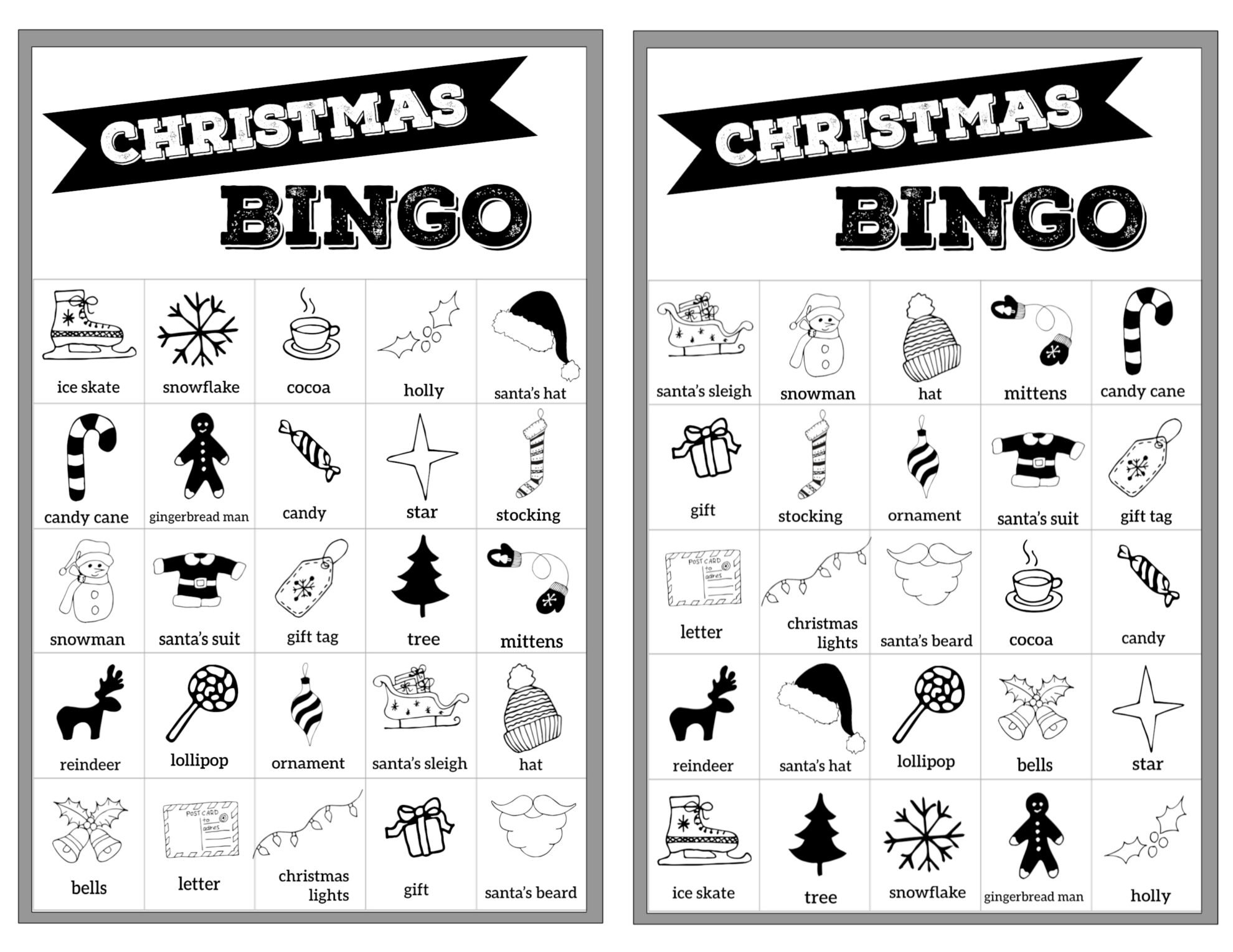 free christmas bingo printable cards paper trail design