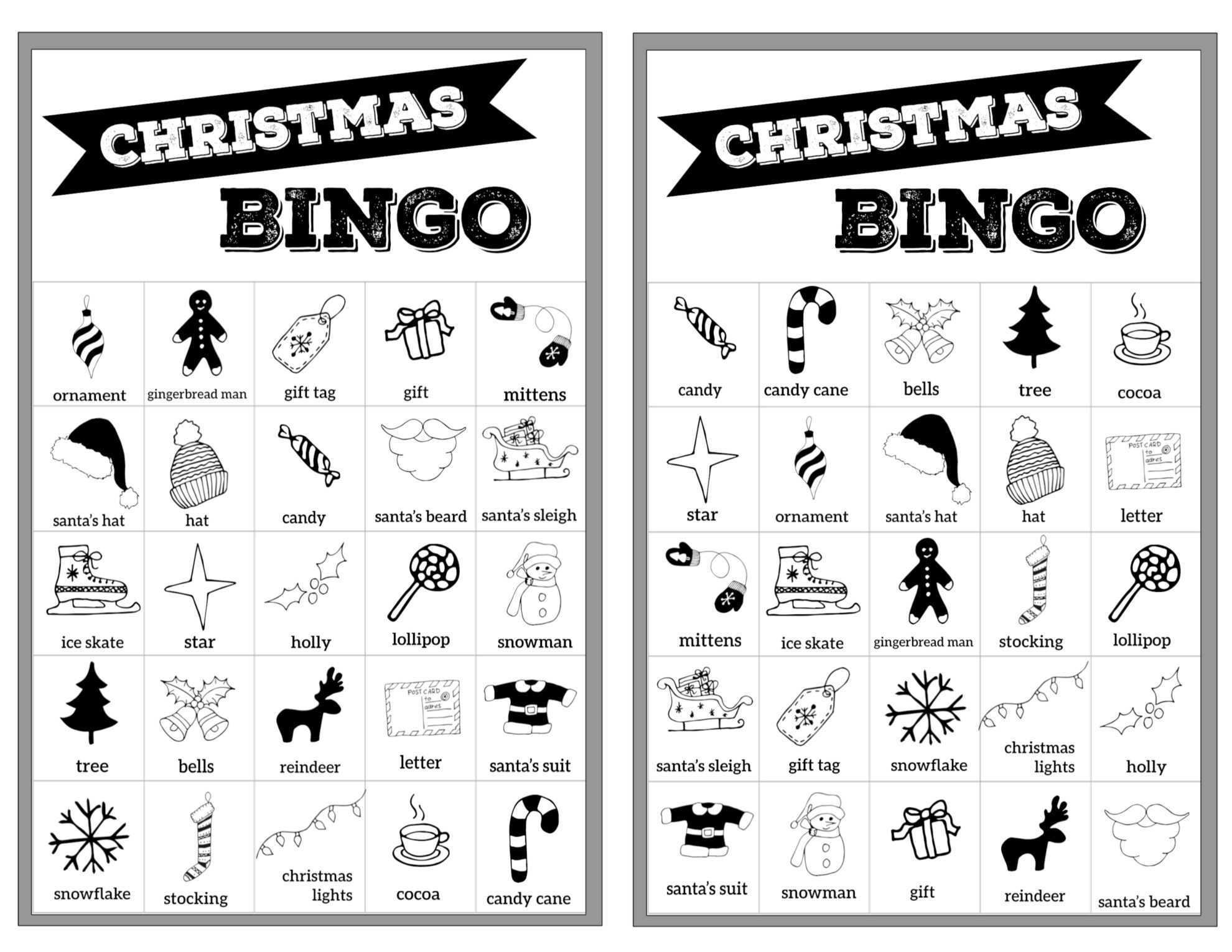image relating to Free Printable Christmas Bingo Cards identified as Absolutely free Xmas Bingo Printable Playing cards - Paper Path Structure