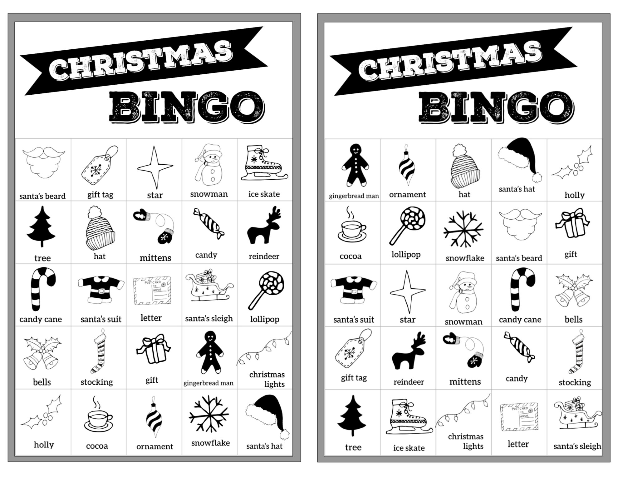 Free Christmas Bingo Printable Cards Paper Trail Design