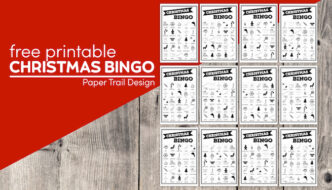 12 Christmas bingo cards with text overlay- free printable Christmas bingo cards