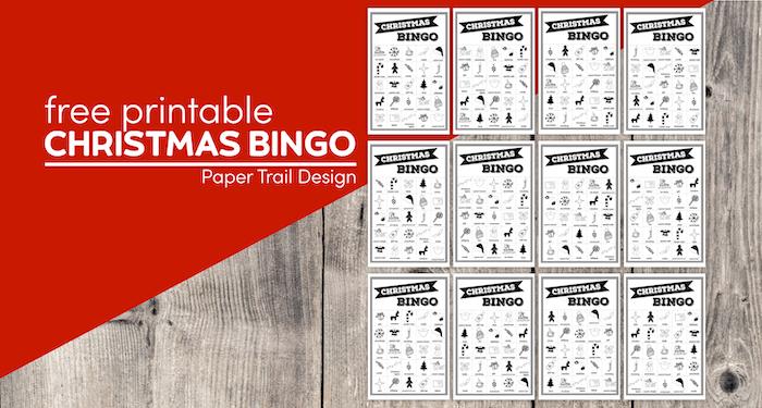 12 Christmas bingo cards with text overlay- free printable Christmas bingo cards