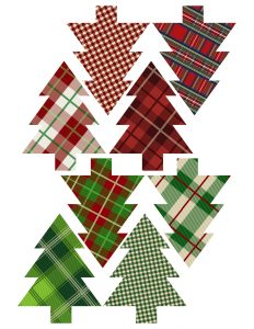 Plaid Christmas Tree Ornaments Printable. Easy Christmas ornament craft. Easy DIY Christmas tree ornament set of plaid Christmas trees. #papertraildesign #DIYChristmas #ChristmasDecor #Christmasprintables #OhChristmasTree