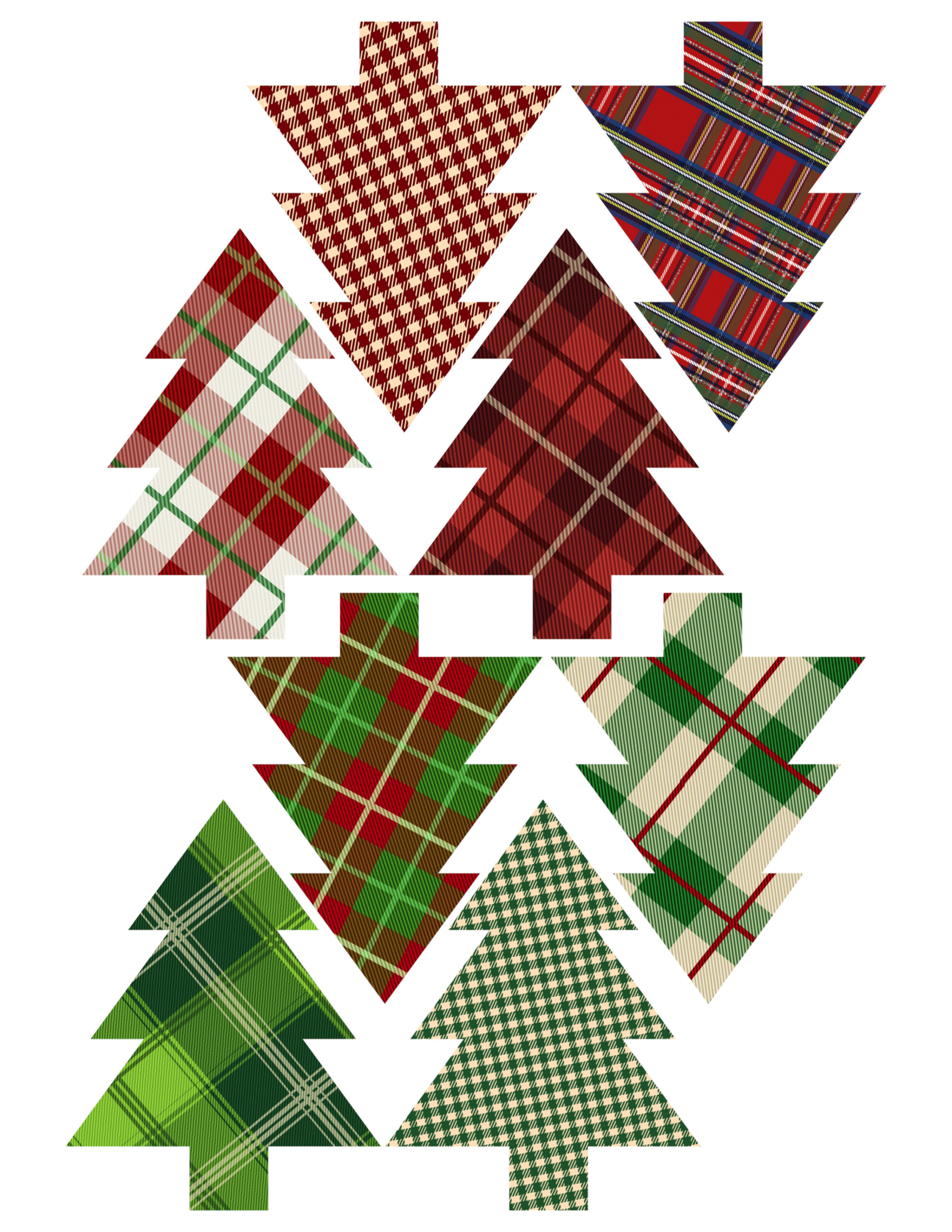 image relating to Ornaments Printable titled Plaid Xmas Tree Ornaments Printable - Paper Path Layout