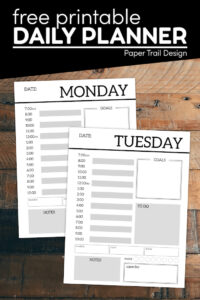 Free daily planner printables to build your own planner with text overlay- free printable daily planner