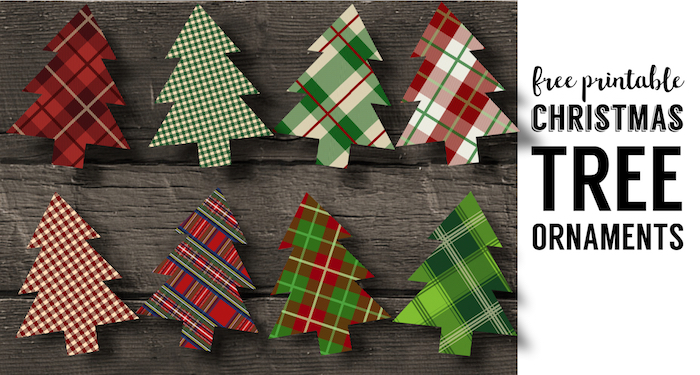 Plaid Christmas Tree Ornaments Printable. Easy Christmas ornament craft. Easy DIY Christmas tree ornament set of plaid Christmas trees.
