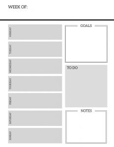 Free Printable Weekly Planner Pages. Organizer printable weekly planner with to-do list, goals, and notes. Printable weekly planner sheets. #papertraildesign #weeklyplannerpages #freeprintableplanner