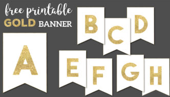 Gold Free Printable Banner Letters template. Create a DIY personalized custom banner for birthday party decor, Christmas, wedding, New Year, Holidays. #papertraildesign #gold #goldbanner #banner #birthday #babyshower #birthdaybanner #babyshowerbanner #custombanner #freeprintable #printable
