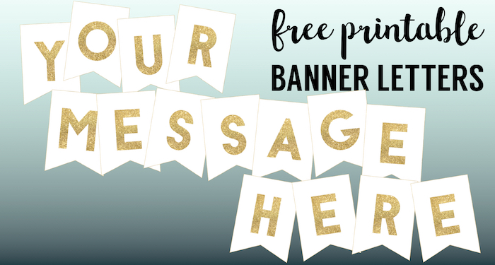 gold free printable banner letters template create a diy personalized custom banner for birthday party