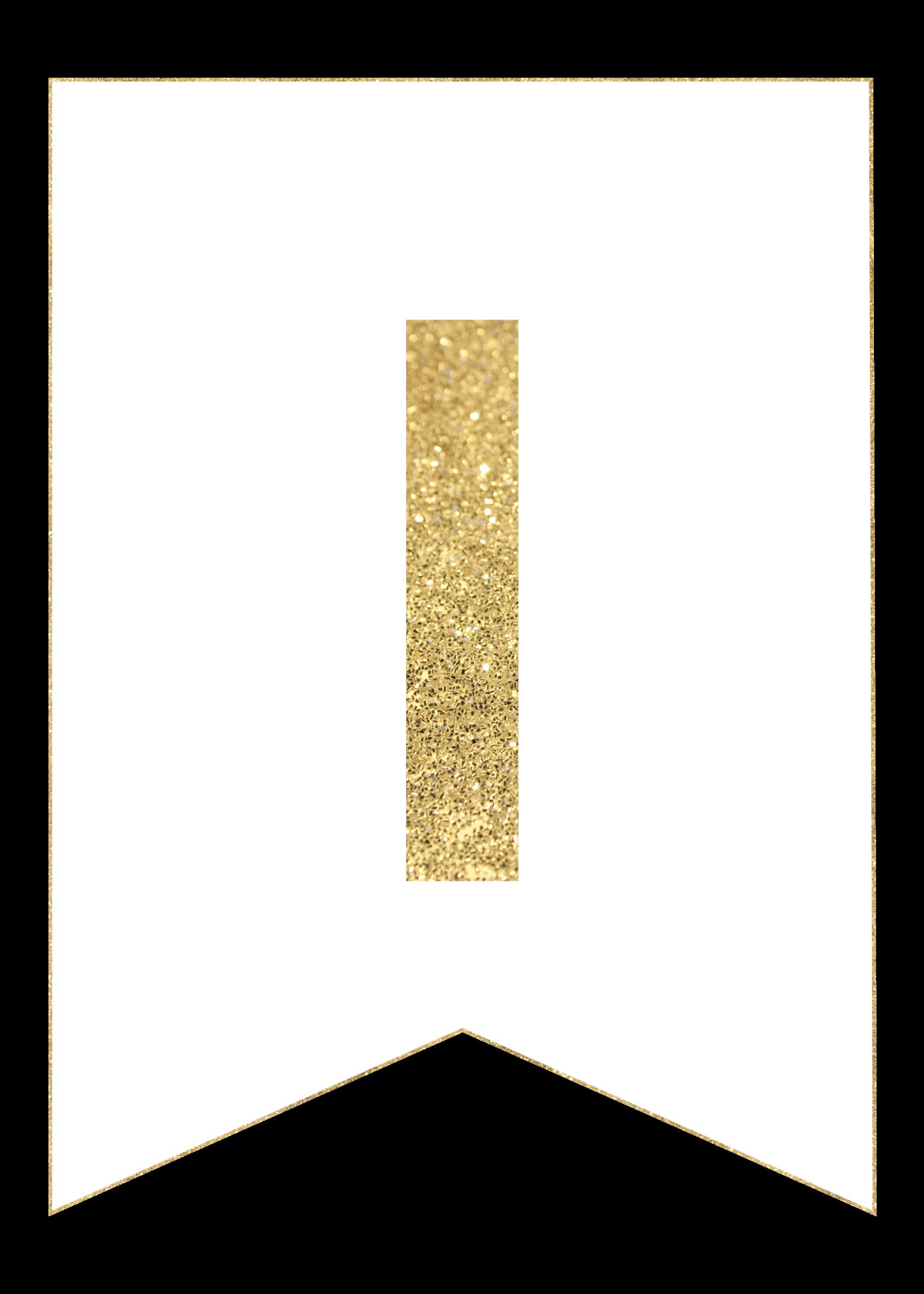 i gold alphabet banner letter