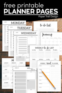 Monthly planner printable pages with pencil and text overlay- free printable planner pages
