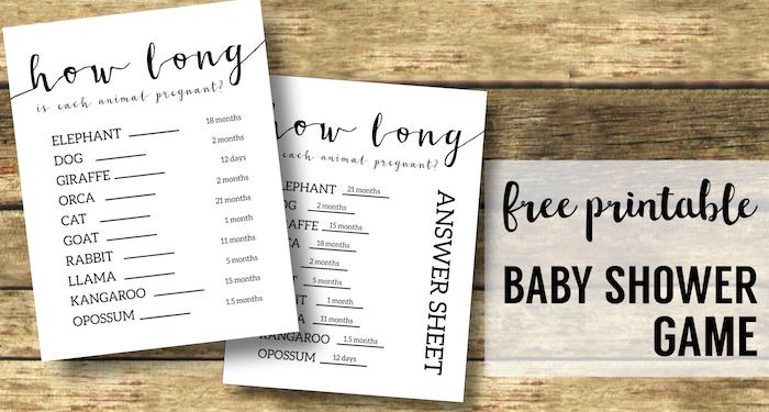 Free Baby Shower Games Printable {Animal Pregnancies}. Girl of Boy Baby shower printable. Easy fun DIY baby shower activity. #papertraildesign #babyshowergames #babyshowerideas #easybabyshower