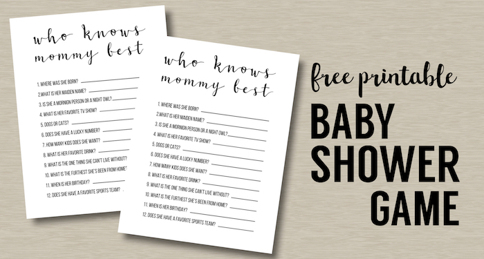 Baby Shower Games Free Printable {Who Knows Mommy Best}. Boy or girl cheap, simple, fun, and easy DIY baby shower game idea. #papertraildesign #girlbabyshower #boybabyshower #babyshower