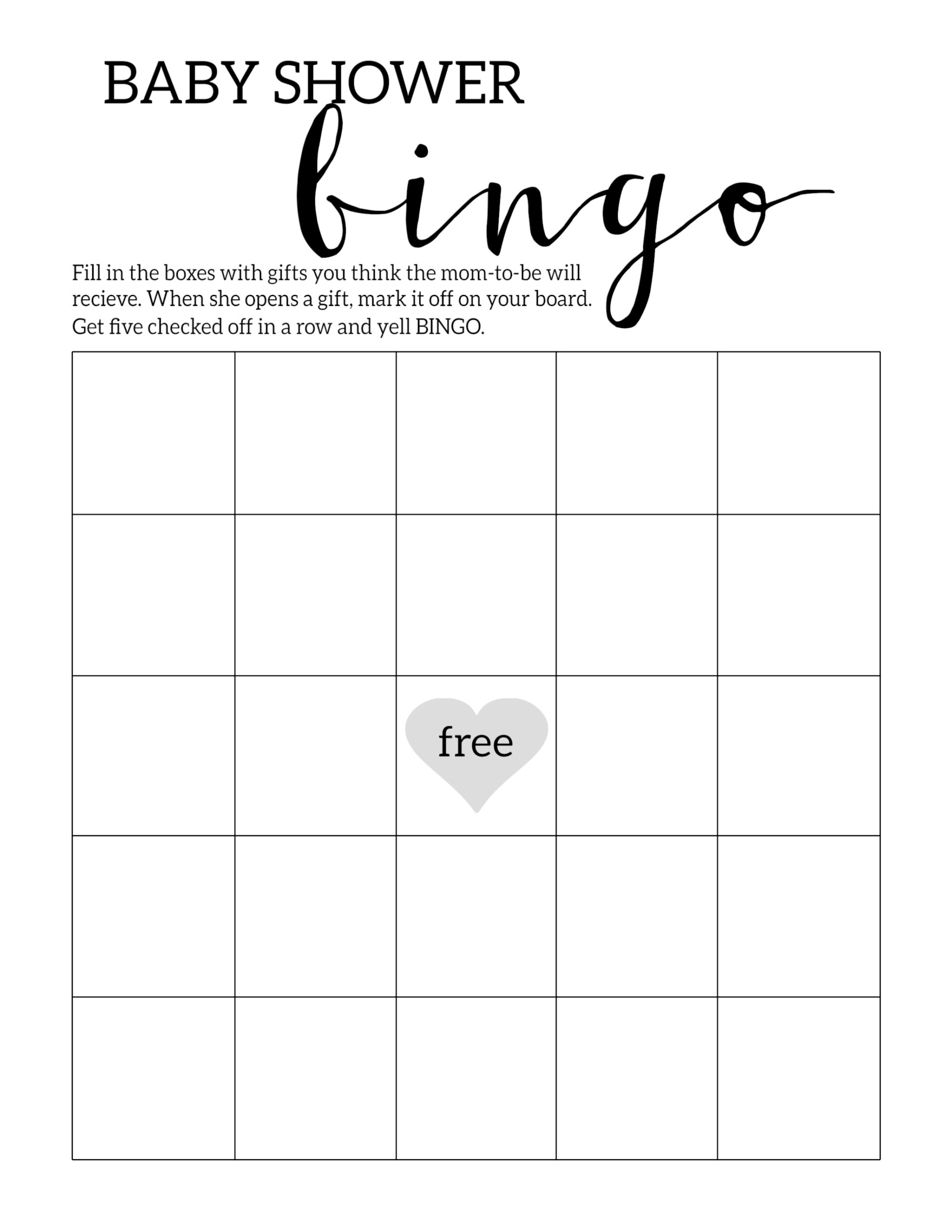 Baby Shower Bingo Game Template Free Printable