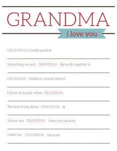 Grandma Gifts for Mother's Day - Printable Card. Easy DIY Mother's Day grandma gift from kids or toddlers. Printable fill in card. #papertraildesign #nanagift #mothersdayidea #grandmagift