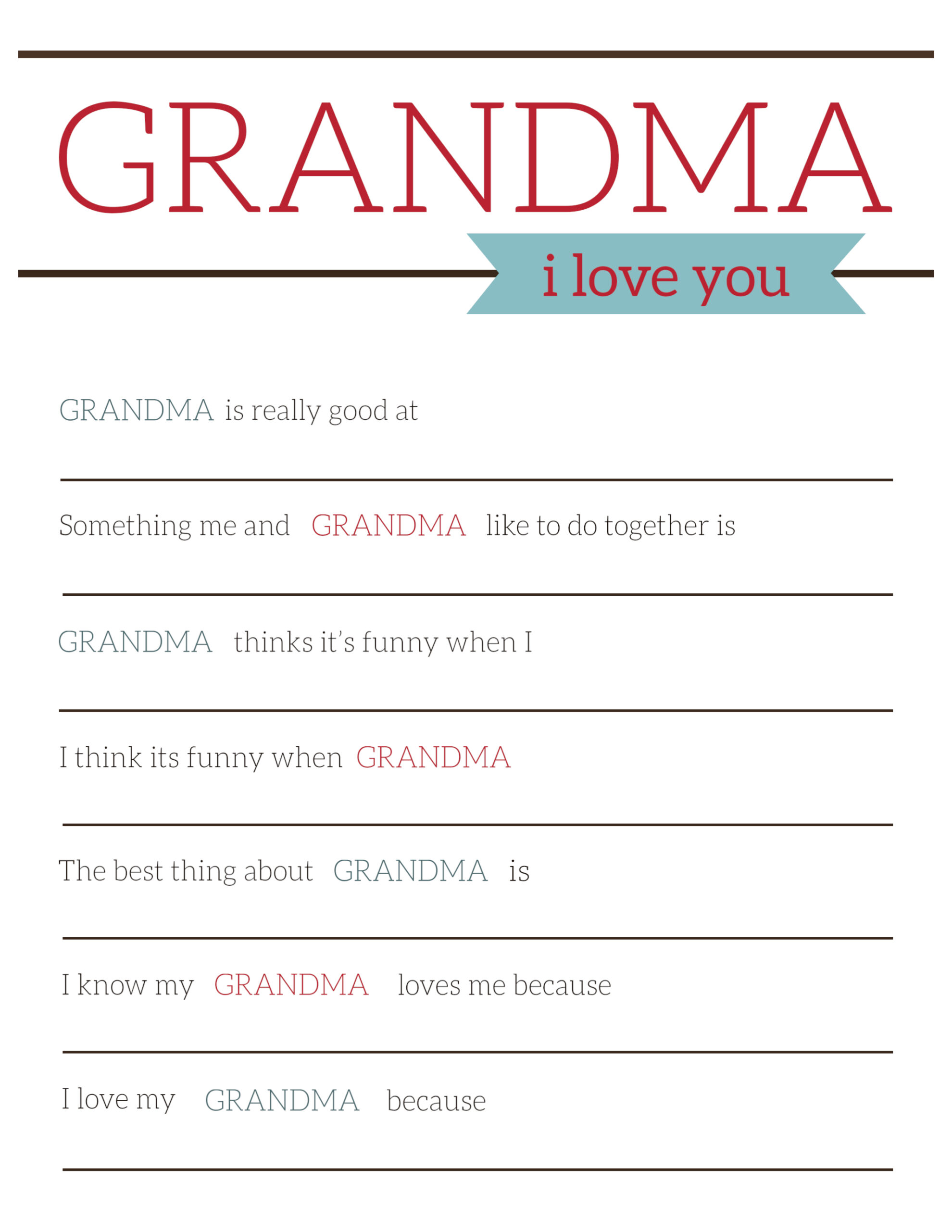 graphic about All About My Grandma Printable referred to as Grandma Items for Moms Working day - Printable Card - Paper