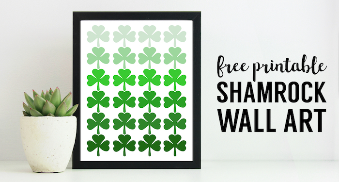 Shamrock Pattern Printable St. Patrick's Day Decor. Easy St. Patty's Day decoration idea DIY wall art print. Ombre shamrock irish ideas. #papertraildesign #shamrockdecor #shamrockprintable #lucky